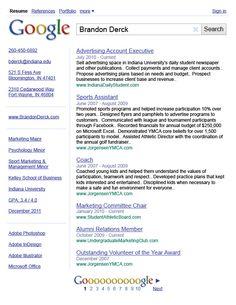 CV resume as google infographics