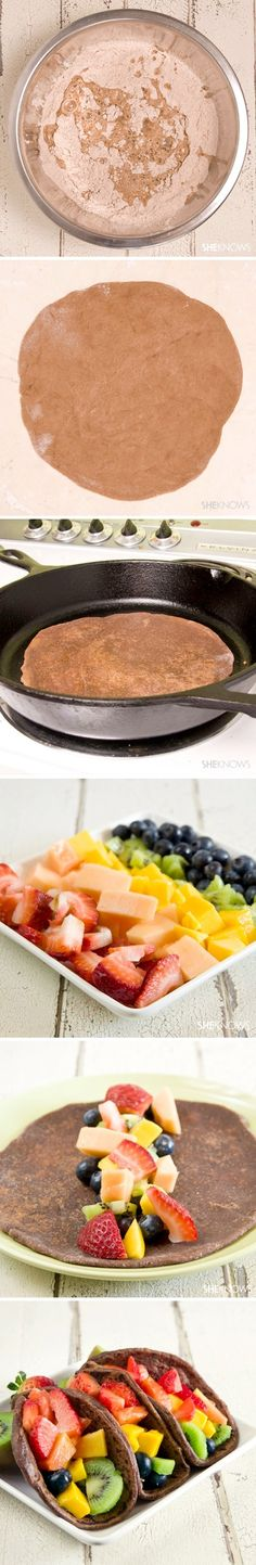 "Fruit Tacos With Chocolate Tortillas ~ would be good topped with marshmallow fruit dip for the ""sour cream""  link to recipe on page"
