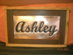 Punched copper name plaque
