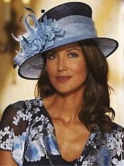 Hat and matching dress in navy and blue