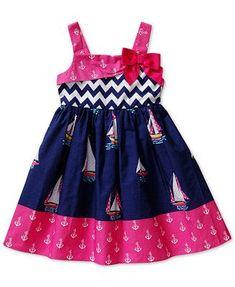Sweet Heart Rose Little Girls' Sailboat Chevron-Print Dress Toddler Girl Dresses, Little Girl Dresses, Little Girls, Girls Dresses, Toddler Girls, Kids Dress Patterns, Sewing Patterns, Chevron Print Dresses, Unicorn Dress