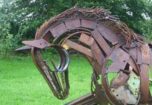 Life-sized scrap metal horse to help the Injured Jockeys Fund