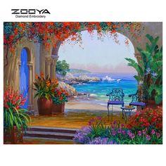 ZOOYA Diamond Embroidery 5D DIY Diamond Painting Seaside Landscape Diamond Painting Cross Stitch Rhinestone Decoration CJ513 #Affiliate