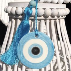 Part of our new home decor range. Our gorgeous ceramic petite eyes. Handmade and hand painted in Greece. Dimensions eye: 7 x Length from eye to tassel: God's Eye Craft, Evil Eye Hand, Minimal Drawings, Gods Eye, Greek Art, Hanging Hearts, Eye Art, Mandala Design, Clay Crafts