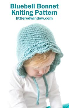 This adorable bluebell baby bonnet knitting pattern uses a feather and fan stitch to create this beautiful wavy edge. It will look so sweet on your newborn, baby or toddler! Baby Knitting Patterns, Knitting Stitches, Baby Patterns, Crochet Patterns, Sweater Patterns, Stitch Patterns, Baby Bonnet Pattern, Beanie Pattern, Crochet Baby