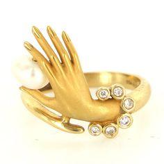 Estate Carrera Y Carrera Hand 18K Yellow Gold Diamond Pearl Cocktail Ring 6 1 4 | eBay