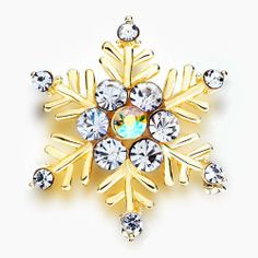 Pugster 22k Golden Plated Inspired Snowflake Clear Swarovski Crystal Brooches And Pins For Holiday Gifts Pugster. $29.99. Can be pinned on your gown or fastened in your hair with bobby pins.. Money-back Satisfaction Guarantee.. One free elegant cushioned Gift box available with every order from Pugster.. Exquisitely detailed designer style with Swarovski cystal element.. Occasion: casual wear,anniversary, bridal, cocktail party, wedding