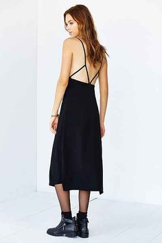 Silence + Noise Strappy-Back Side-Slit Midi Dress - Urban Outfitters