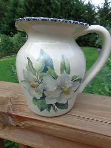 Details About Home And Garden Party 1999 Stoneware Pitcher  Magnolia  Flowers Sooo Pretty