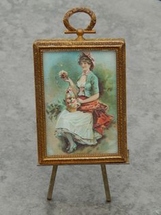 Antique miniature picture with easel. Now available in my Ruby Lane shop:  Kim's Doll Gems