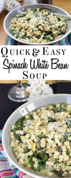 quick amp easy spinach white bean amp pasta soup erren s kitchen