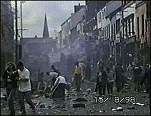 Omagh came into the international focus of the media on 15 August 1998, when the Real Irish Republican Army exploded a car bomb in the town centre. 29 people were killed in the blast – 14 women (including one pregnant with twins), 9 children and 6 men. Hundreds more were injured as a result of the blast.   In April 2011, a car bomb killed police constable Ronan Kerr. A group of former Provisional IRA members calling itself the Irish Republican Army made its first public statement later that month claiming responsibility for the killing.