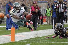 Philadelphia Eagles wide receiver Jeremy Maclin dives for the end zone past Pittsburgh Steelers cornerback Keenan Lewis. Week 5 2012 Season