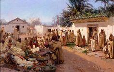 Algerie - Peintre Italien ,Gustavo Simoni( 1845-1926), Huile sur toile 1883, Titre : Scène de marché Arabe