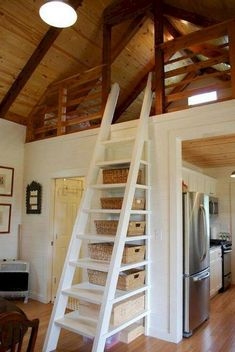 32 Amazing Loft Stairs Tiny House Ideas, The loft is made up of a succession of spaces which have been custom-designed so as to react to the customer's requirements. In any event, this loft m. Tiny House Loft, Tiny House Stairs, Garage House, Cottage Stairs, Tiny Houses, Loft House Design, Garage Loft, Attic House, The Loft