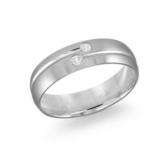 Men's Diamond White Gold Wedding Band with a Satin Finish. Classic design with a striped pattern in an eternity style. Band features two flush set round diamonds, ctw, G-H color, SI clarity. Unusual Wedding Rings, Wedding Rings For Women, Rings For Men, Delicate Engagement Ring, Platinum Engagement Rings, White Gold Wedding Bands, Diamond Wedding Bands, Bridal Bands, Mens Ring Sizes