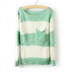 Green White Striped Pullover Long Sleeve Sweater 28$ should i get it?