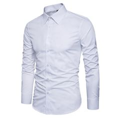Manwan walk Mens Slim Fit Business Casual Cotton Long Sleeves Solid Button  Down Dress Shirts XSmall White * You can find more details by visiting the  image ...