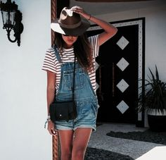 Overalls with fedora hat || Get similar style: mickeysgirl.com