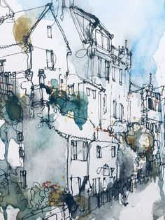 Urban Landscape, Abstract Landscape, Urban Sketchers, Ink Painting, Art Sketchbook, Watercolor And Ink, Sketchbooks, Line Art, Sketching