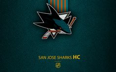 Download wallpapers San Jose Sharks, HC, 4K, hockey team, NHL, leather texture, logo, emblem, National Hockey League, San Jose, California, USA, hockey, Western Conference, Pacific Division