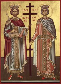 Mother of Emperor Constantine, Helena (right, pictured with her son) was perhaps the most famous pilgrim to travel to Byzantine Jerusalem and is credited with finding the tomb of Jesus and the True Cross. Catholic Saints, Patron Saints, St Constantine, Constantino, Early Middle Ages, Byzantine Art, Early Christian, Christian Art, Orthodox Icons
