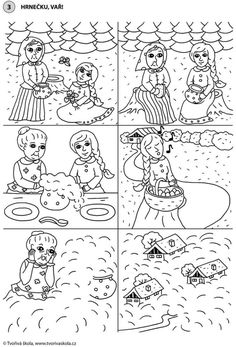 Pohádka: Hrnečku, vař! (časová posloupnost) Sequencing Pictures, Story Sequencing, Colouring Pages, Coloring Sheets, Paper Birds, Spring Activities, Stories For Kids, Kids Education, Storytelling