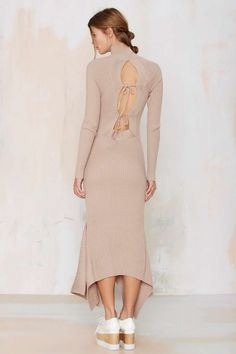 Nasty Gal Kozmic Ribbed Knit Maxi Dress - Tan - Midi + Maxi | Solid | Basic | Dresses