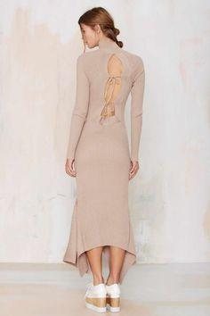Nasty Gal Kozmic Ribbed Knit Maxi Dress - Tan - Midi + Maxi | Solid | Basic | Dresses