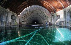 Abandoned shelter-base for Soviet submarines