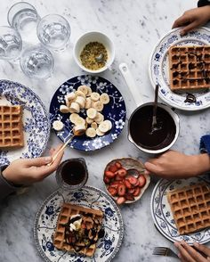 A breakfast of waffles earlier today with our favorite plates and toppings! #cookrepublic #waffles