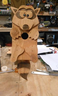 Handcrafted Raccoon Birdhouse in Cedar or by RossArtsNCrafts, $30.00