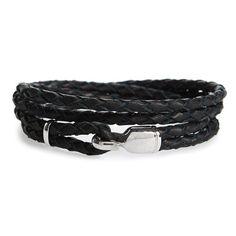 Men's Miansai Trice Braided Leather & Sterling Silver Bracelet ($95) ❤ liked on Polyvore featuring men's fashion, men's jewelry, men's bracelets, black, mens watches jewelry, mens sterling silver bracelets, mens wrap bracelet, mens bracelets and mens woven bracelets