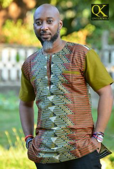 Shirt exlusive design by Qkweli made in Tanzania African Shirts For Men, African Dresses Men, African Attire For Men, African Clothing For Men, African Fashion Ankara, African Print Fashion, African Wear, Afro, African Print Shirt