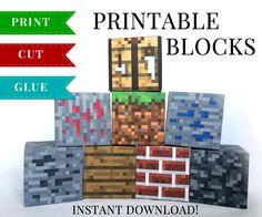 SET 3 - Minecraft Inspired DIY Digital Printable Minecraft Blocks for Birthday Parties / Minecraft Party Favors / Minecraft Party Supplies