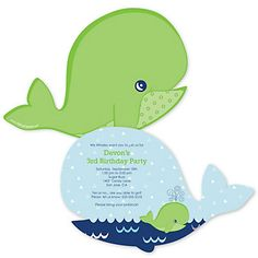 Tale Of A Whale - Shaped Birthday Party Invitations | BigDotOfHappiness.com