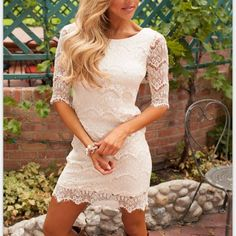 4be796b5e9f White 3 4 sleeve Mini Round Neck High waist Lace Dresses