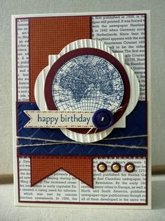 White House Stamping: Open Sea Birthday... Masculine Birthday Cards, Birthday Cards For Men, Man Birthday, Masculine Cards, Nautical Cards, Boy Cards, Men's Cards, Greeting Cards, Fathers Day Cards