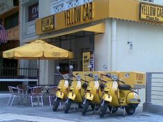 Malaysia's Yellow Cab Pizza Company delivery vehicles. Pizza Company, Pizza Delivery, Zoom Zoom, Vespa, Scooters, Sicily, Lemon, Characters, Yellow