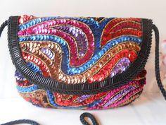 Beaded Evening Bag Black Sequin Handbag by LittleBitsofGlamour, $34.00