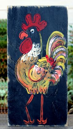 Shabby Rustic Rooster Painting Great decor for the new/'Old' look in for the Shabby look ! Hippie Hugs with Love, Michele~♥~