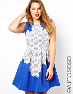 Image 1 of ASOS CURVE Exclusive Skater Dress With Lace