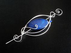 Blue Shawl Pin Scarf Pin Sweater Brooch Agate by NataliStudio