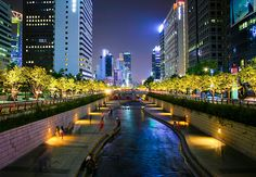 The Cheonggyecheon River in Seoul.  It's quite surreal walking along the idyllic stream in the center of a bustling city.