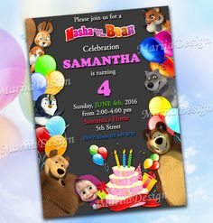 Masha and the Bear Party Invitation - Party Printable Chalkboard
