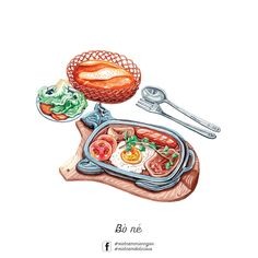 Bò Né or Sizzling beef steak is influenced by Western cuisine. It includes beef steak, omelette, pate, fried potatoes, salad and is served with bread. Food Art Painting, Food Sketch, Vietnamese Recipes, Vietnamese Food, Food Cartoon, Watercolor Food, Food Drawing, Food Illustrations, Cute Food