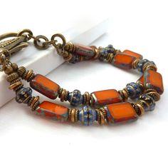 Orange Beaded Bracelet Cobalt Navy Blue by RockStoneTreasures Bohemian Style Jewelry, Bohemian Bracelets, Handmade Bracelets, Handmade Jewelry, Beaded Jewelry, Jewelry Bracelets, Jewelery, Necklaces, Style Couture