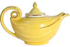 vintage yellow ceramic Aladdin teapot $129 (sold)