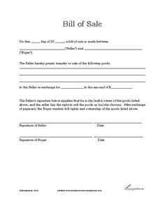 Bill Of Sale Template Free Download | Free Auto Bill Of Sale Printable Template Motor Download Blank