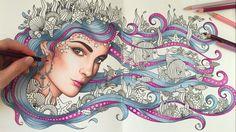HOW I COLOR HAIR - PRINCESS OCTOPUS   Daydreams Coloring Book